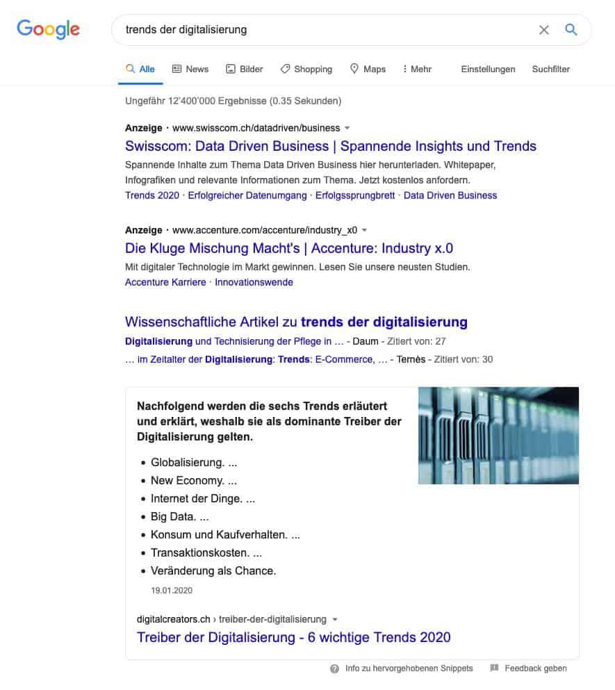 SERP für Trends der Digitalisierung