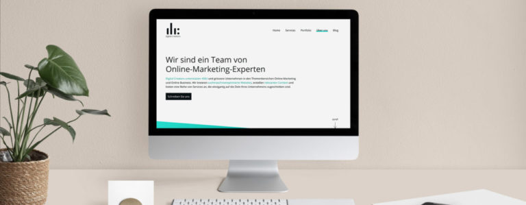 Screen mit Website der Digital Creators